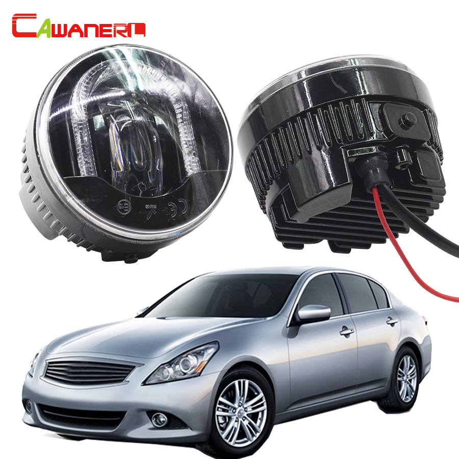 Cawanerl For Infiniti G25 2.5L V6 2011 2012 Car LED Fog Light DRL Daytime Running Lamp High Power 2 Pieces cawanerl 2 pieces car styling led fog light daytime running lamp drl 12v for infiniti g37 sport 3 7l v6 gas 2011 2012 2013