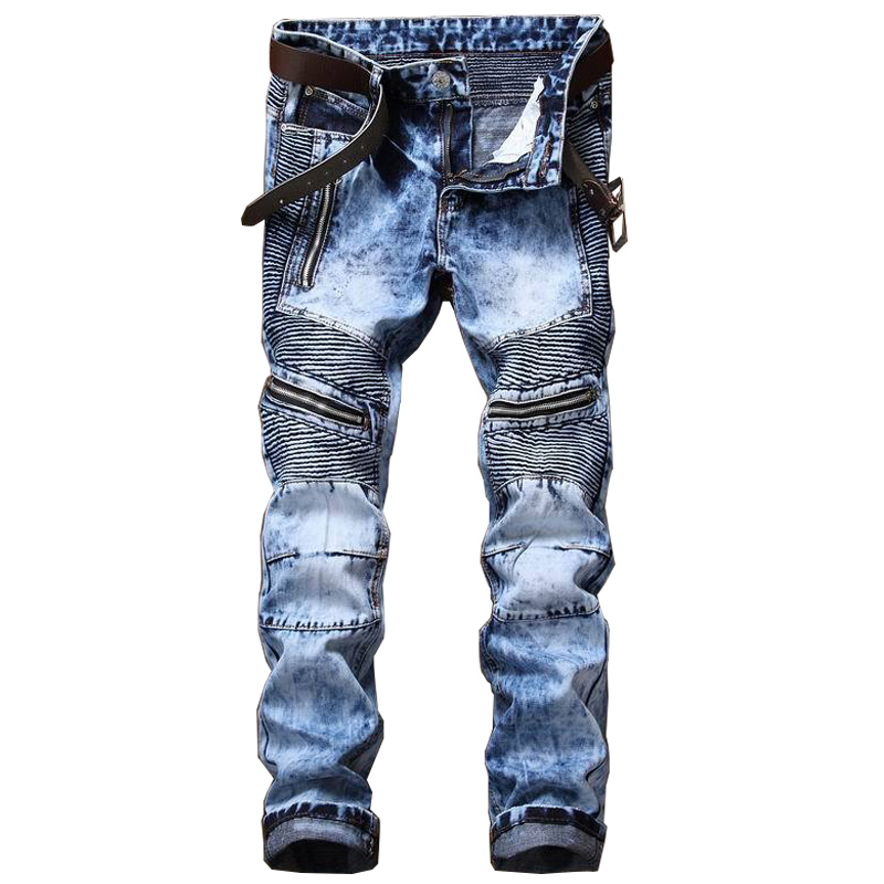 Newsosoo Men's Ripped Biker Jeans Pants With Multi Zipper Fashion Distressed Motorcycle Denim Trousers Streetwear High Quality 2017 biker jeans mens high stretched zipper distressed jeans new fashion pantalones vaqueros hombre bmy1903