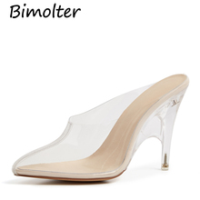 Bimolter Women Pumps 2019 Transparent Super High Heels Sexy Pointed Toe Slip-on Wedding Party Shoes For Lady NB146
