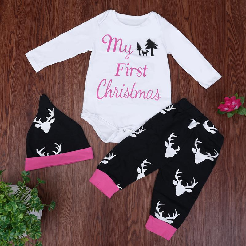 3pcs Baby Clothes Set My First Christmas Girl Boys Rompers Long Sleeve Deer Print Pants+Hat Outfits Winter Body Suit