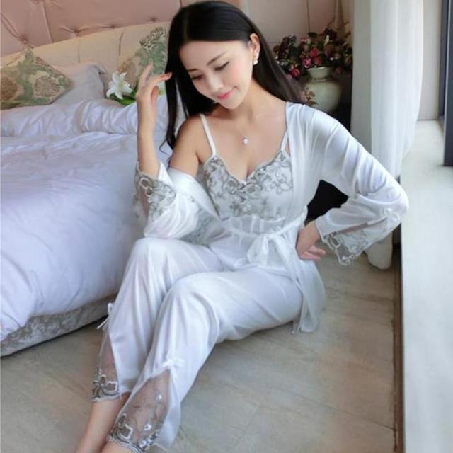 3pcs/set Women Silk Satin Sleepwear Sexy Sling Tops+Coat+Pants Outfits 2