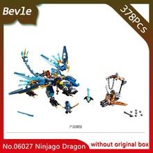 Bevle Store LEPIN 06027 378Pcs Ninja Series Jay's Elemental Dragon Anime Building Kits Block Bricks For Children Toys 70602