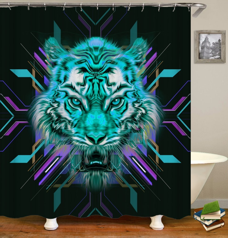 Image 3 - VOZRO 2 M Quality Proof 3d bathroom duschvorhang Manufacturing Lion pattern shower curtain douchegordijn pascoa cortina banheiro-in Shower Curtains from Home & Garden