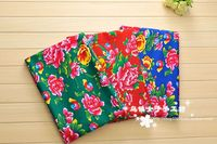 Chinese Style Printed Floral Peony Thickening Twill Cotton Traditional Dress Tissu Sewing Textile Decorative Cloth Fabric 2003BL