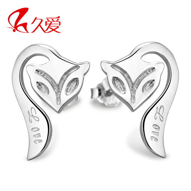 925 silver fire fox stud earring pure silver female all-match Christmas gift
