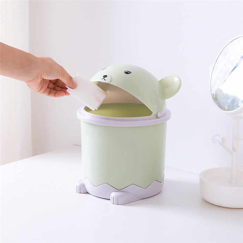 Creative Cute Desktop Trash Bin Mini Flip Plastic Garbage Cans