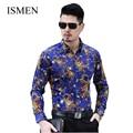 Ismen Camisa dos homens manga comprida negócio Casual masculino moda formais camisas Slim Chemise Homme Masculina Camisa