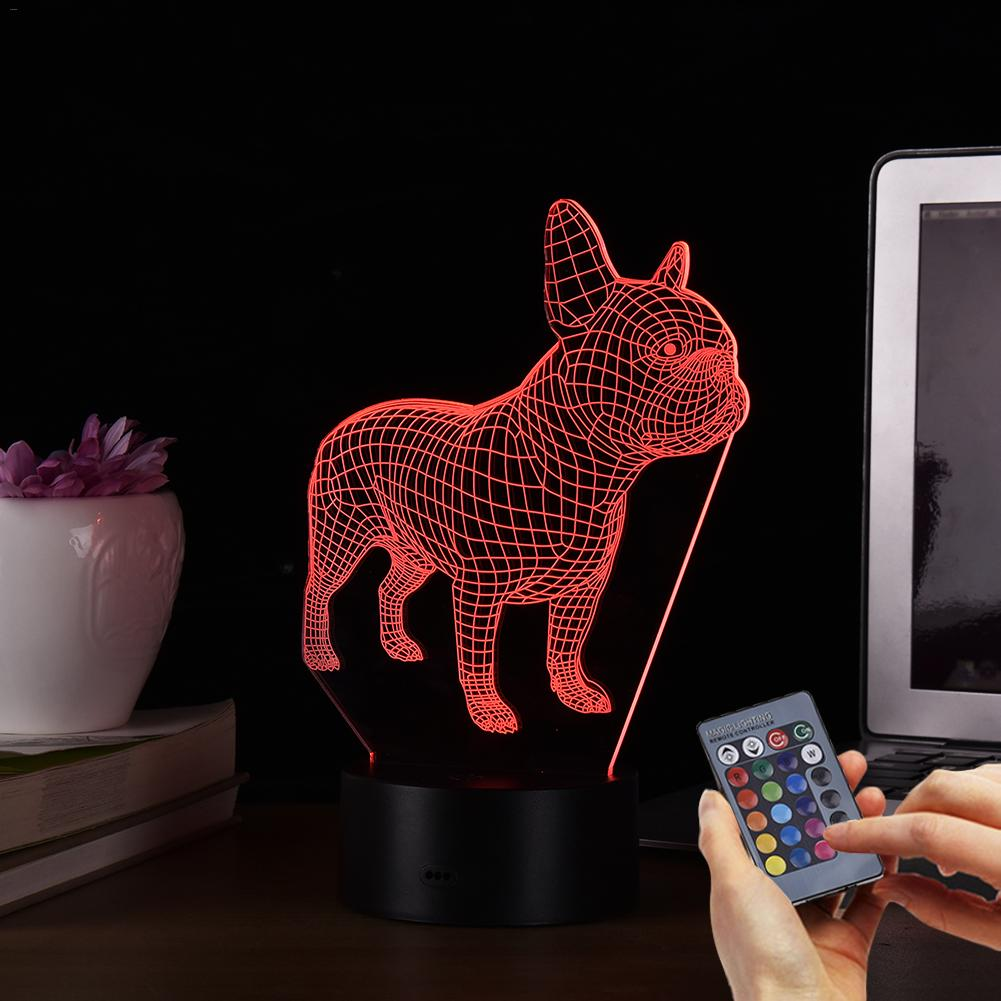 3D Table Lamp Illusion LED Table Lamp Night Light With Animal French Bulldog Shape Touch Sensor Change Effect Holiday Gifts