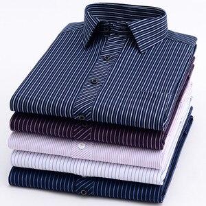 Image 2 - Novo 8xl plus size grande manga longa dos homens não ferro vestido camisa masculina social listrado camisas fácil cuidado oversized camisa