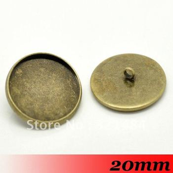 Free ship! Bulk 500piece Antique bronze 20mm Round Back button blanks cameo cabochon setting base