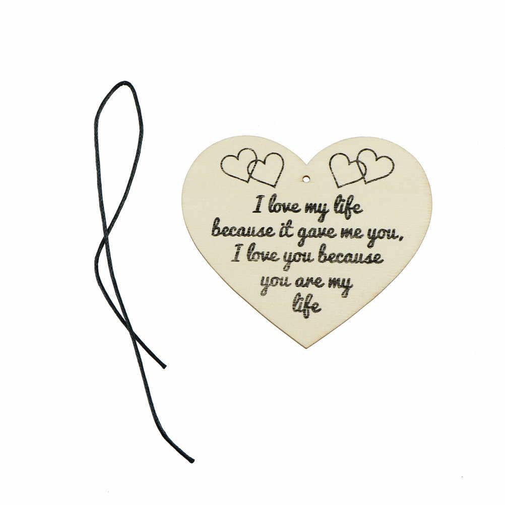 TPXCKz 1 PC kocham moje życie DIY Chirstmas zawieszki choinkowe drewniane serce tablica wina tagi znak do zawieszenia spadek Ornamenr dekoracje domowe na przyjęcie