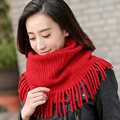 Female Korean winter scarf knitted scarf fringed autumn winter lady thick warm wool collar sleeve head