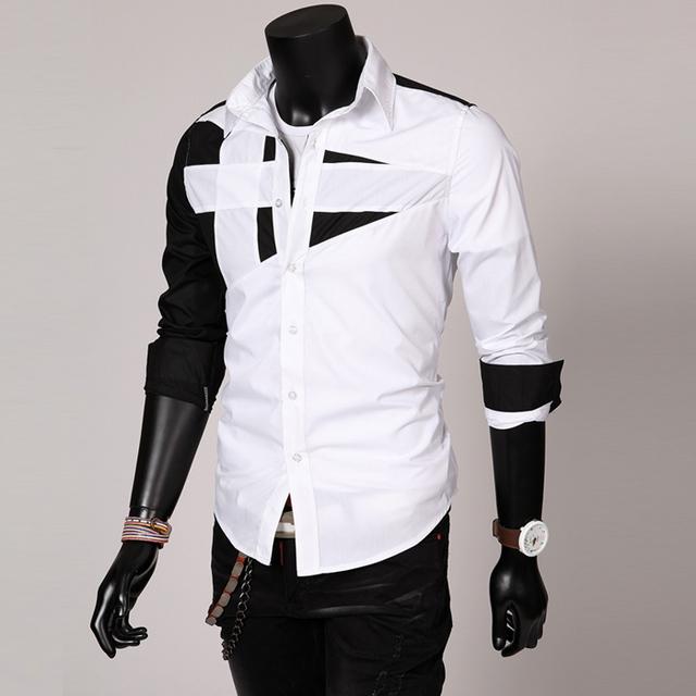 2017 nueva camisa de manga larga Delgado color sólido simple camisa de manga larga (tamaño de asia)