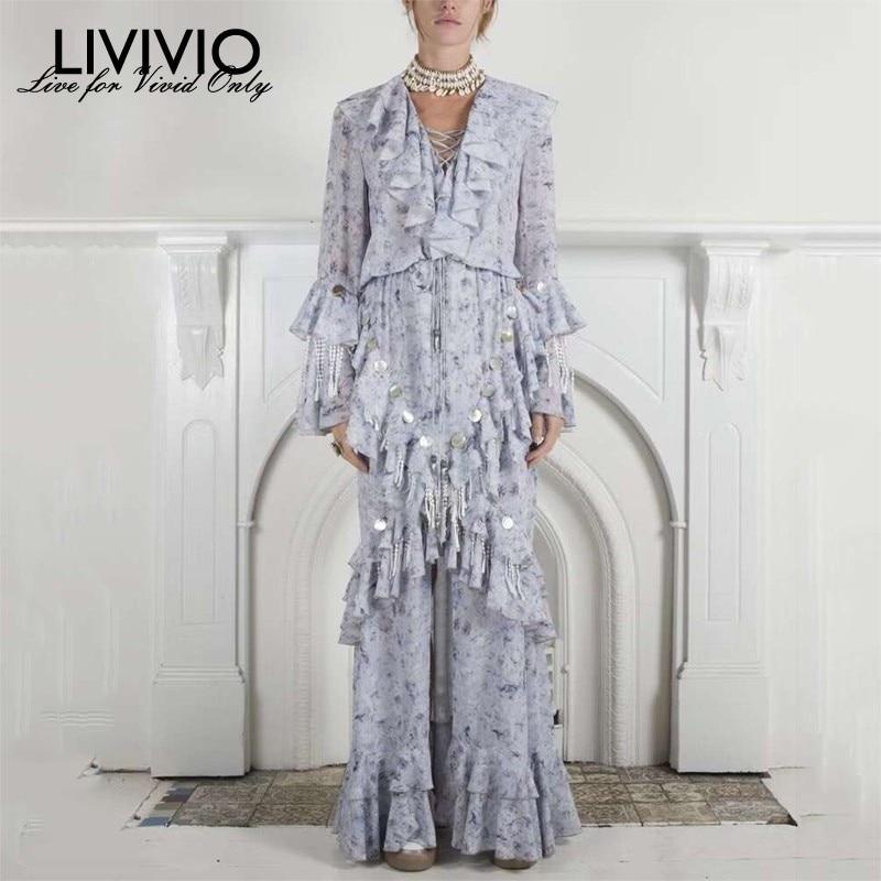 LIVIVIO V Neck Patchwork Sequins Tassel Maxi Dresses Women Flare Sleeve Ruffle Party Dress Female