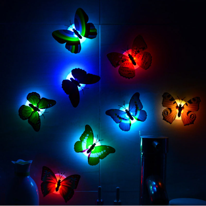 Colorful 3D Butterfly Party Christmas Decoration LED Nightlight ...
