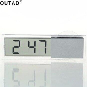 1pc表示デジタル車の電子時計吸盤のデジタル時計が付いている小型耐久の透明なLCD