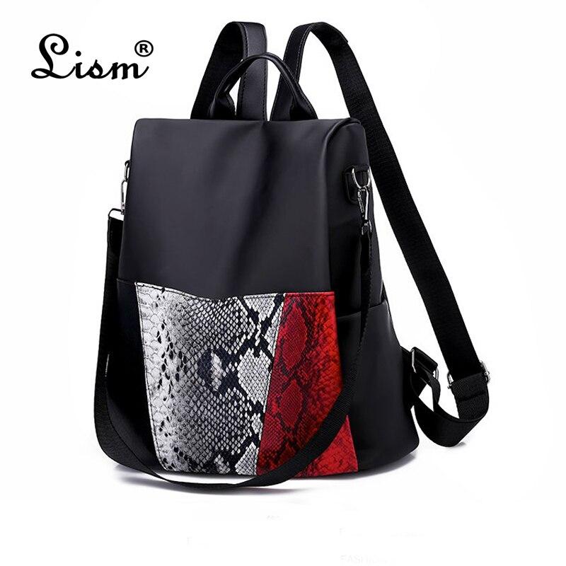 bags for women 2018 new Snake skin decoration Oxford Backpack Famous Designers Brand Shoulder Bag Leisure