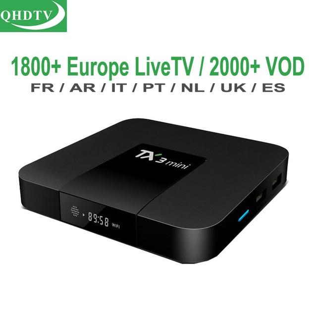 مع 1 سنة QHDTV العربية IPTV الاشتراك الجزائر الهولندية المملكة المتحدة البرتغال الكردية التلفزيون قنوات أوروبا الفرنسية رمز 4 K مربع التلفزيون الذكية TX3