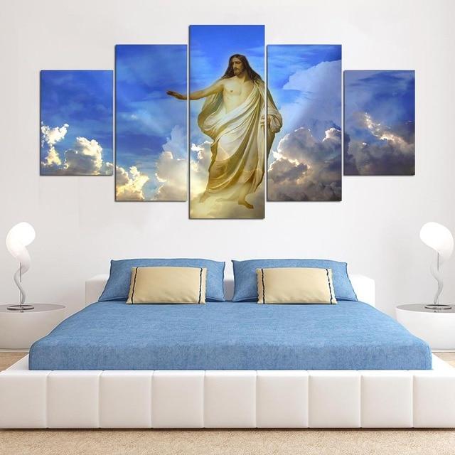 Abstrakte Malerei 5 Panel Jesus Fotowand Modularen Bilder Für ...