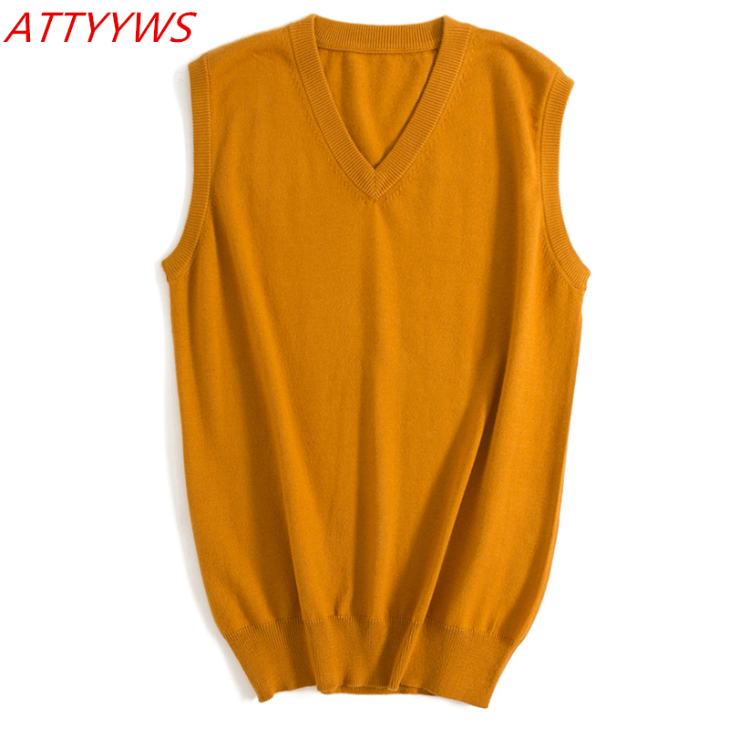 ATTYYWS 18 Autumn And Winter New Men's V-neck Sleeveless Sweater Solid Color Knitted Jacket Vest Loose And Comfortable