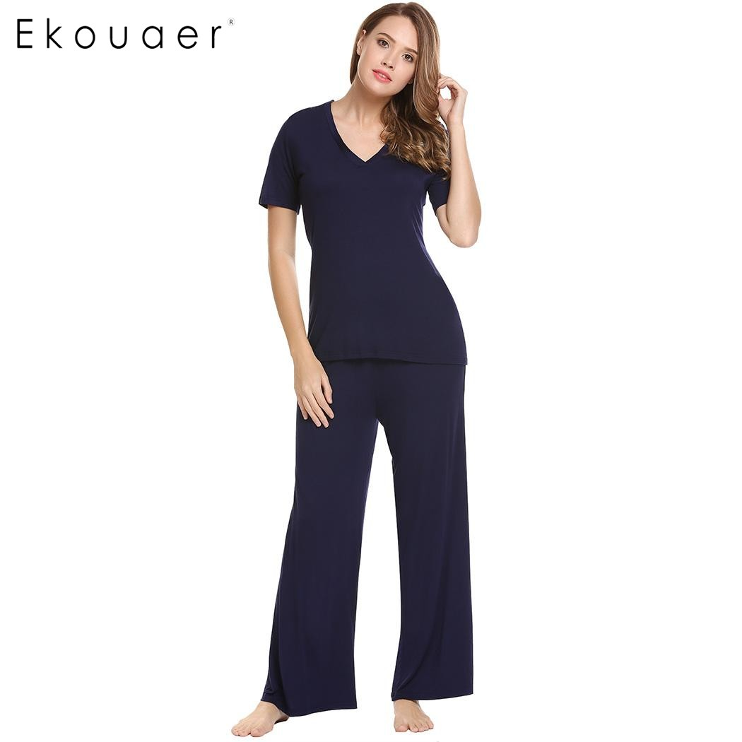 Ekouaer Elegant Sleepwear Casual V-Neck   Pajamas   Autumn Short Sleeve Tops and Solid Elastic Waist Wide Legs Pants   Pajama     Sets