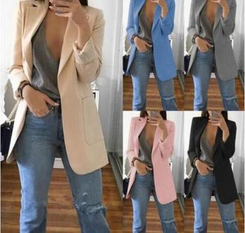 0760f5308 Las mujeres de manga larga de Color sólido giro-abajo Collar de abrigo  señoras traje