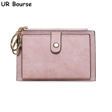 UR BOURSE High Quality Womens Short Coin Purse Ladies Money Bag Female Multi-function Pu Leather Wallet Card Holder