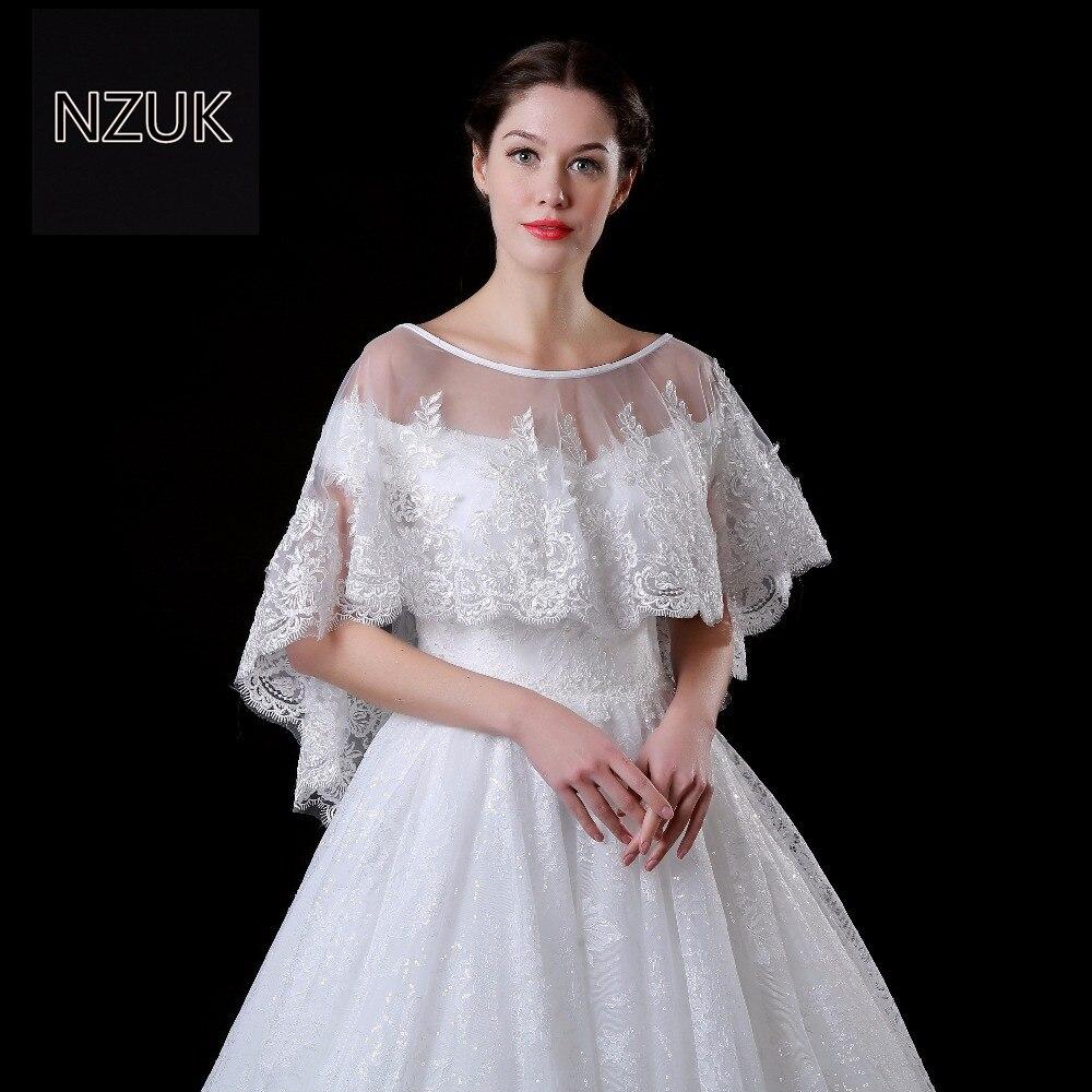 NZUK white lace bolero nuziale Bolero Donne Scialle Mantelle Da Sera Corto Nuziale Wrap Wedding Accessori da sposa jacke