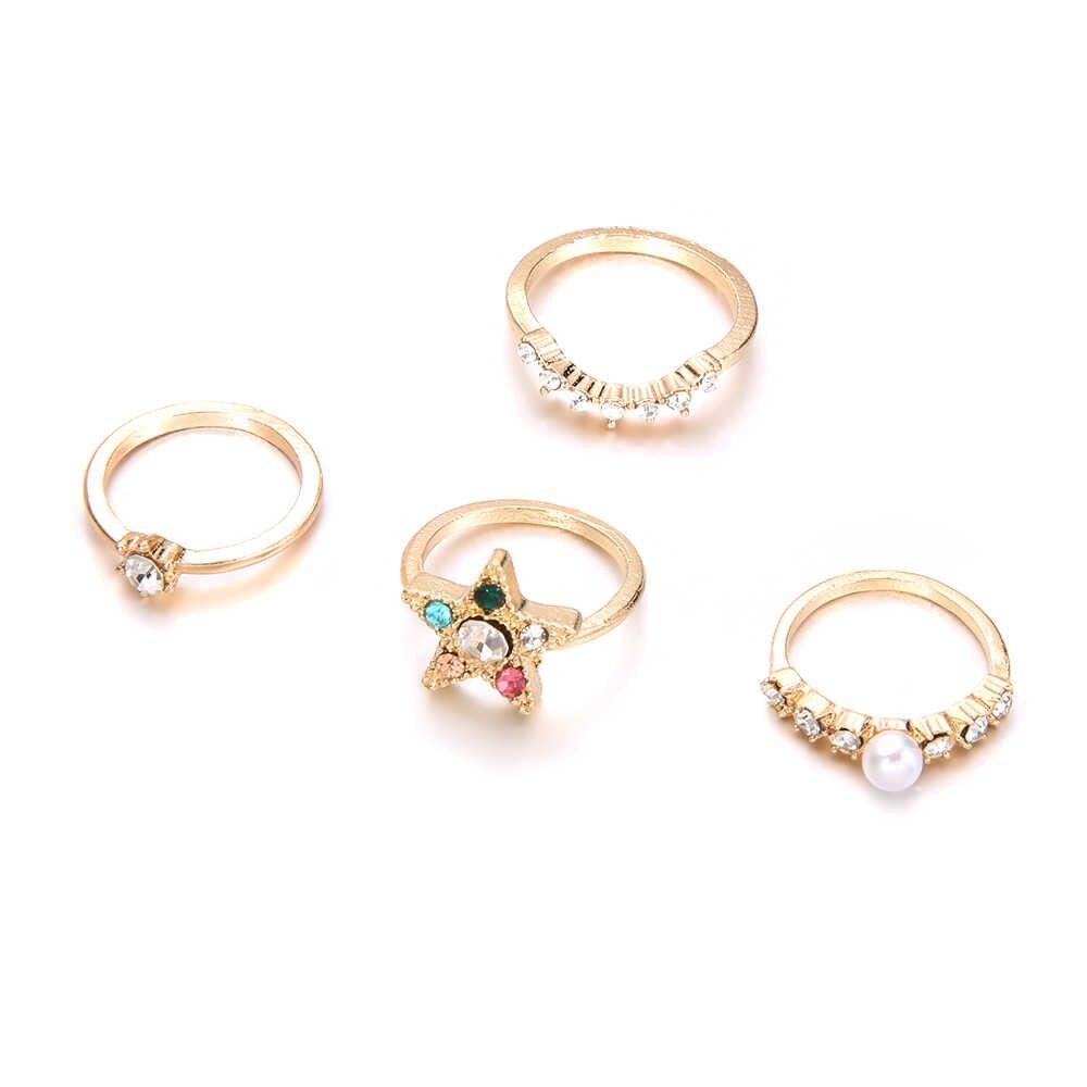 Judeu clássico Da Moda estrela de Cristal da Cor do Ouro Anéis Set Oco Out Vintage Anéis de ouro Set Simples Mulheres Jóias 4pcs
