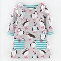Осень ребенок одежда платье девочки одеваются девушки бальные платья пингвин печати одежда американский износ партии детская одежда платья