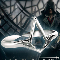 Cosplay Assassin Rings 925 Silver Rings For Men Jewelry Ezio Logo Resizable Ring for Father Boyfriend Birthday Gifts Present