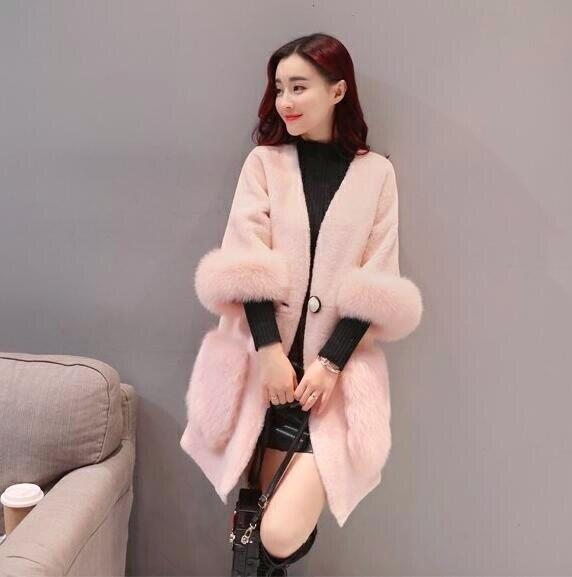 Veste Hiver De Faux L1516 Cachemire white Renard Manteau Outwear Laine red Fourrure Casual Parkas Femmes Patchwork Imitation Creamy gBnnx5