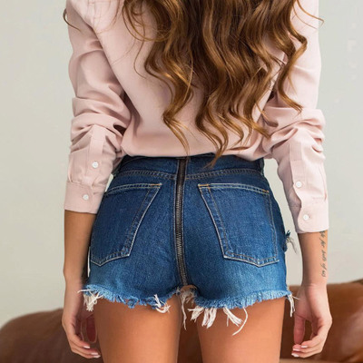 2018 Sexy Back Zipper Denim Shorts Distressed Ripped Blue Shorts Jeans Feminino Plus Size