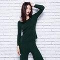 Adohon 2016 Conjuntos camisolas da Caxemira das Mulheres de inverno das mulheres e calças de Pernas Largas mulheres Oneck Alta Qualidade Quente do Sexo Feminino Tornozelo-comprimento