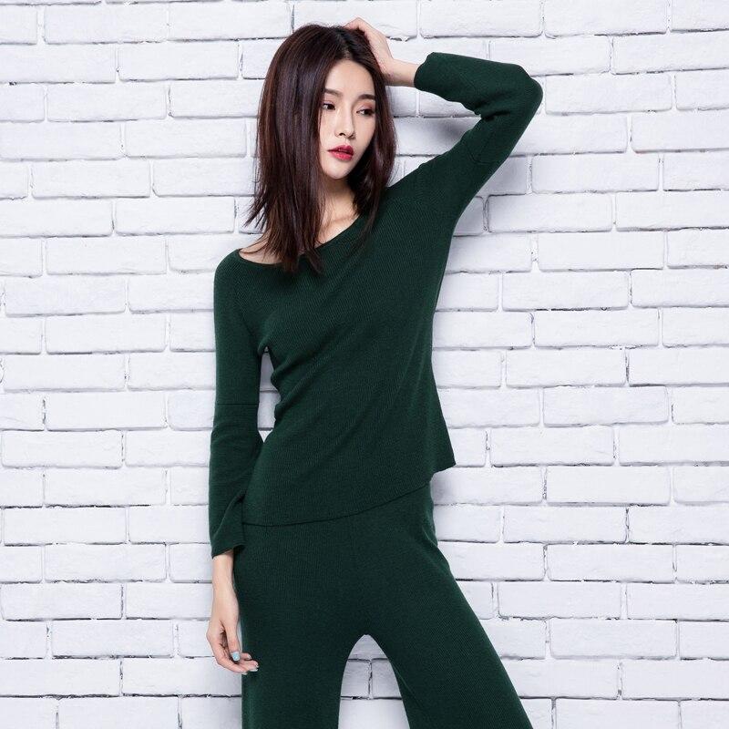 адохон 2018 женске зиме Женске сетове пуловери од кашмира и панталоне широке ноге женске високе квалитете топле женске онецк дужине до глежња