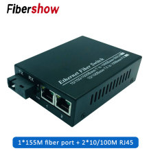 Ethernet Fiber switch 2 RJ45 1 SC Optical Media Converter Single Mode fiber Port 10/100M