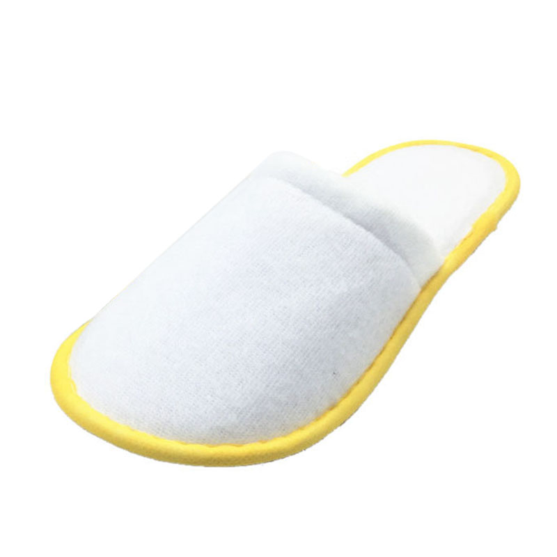 Practical 10 pairs of White Towelling Hotel Disposable Slippers Terry Spa Guest Shoes Yellow in Bath Towels from Home Garden