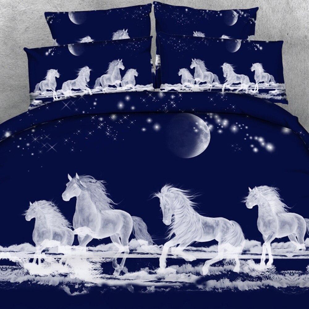 Goldeny 4 pièces par ensemble mystique esprit chevaux galopant au-dessus des nuages 3d HD parure de lit 3D linge de lit
