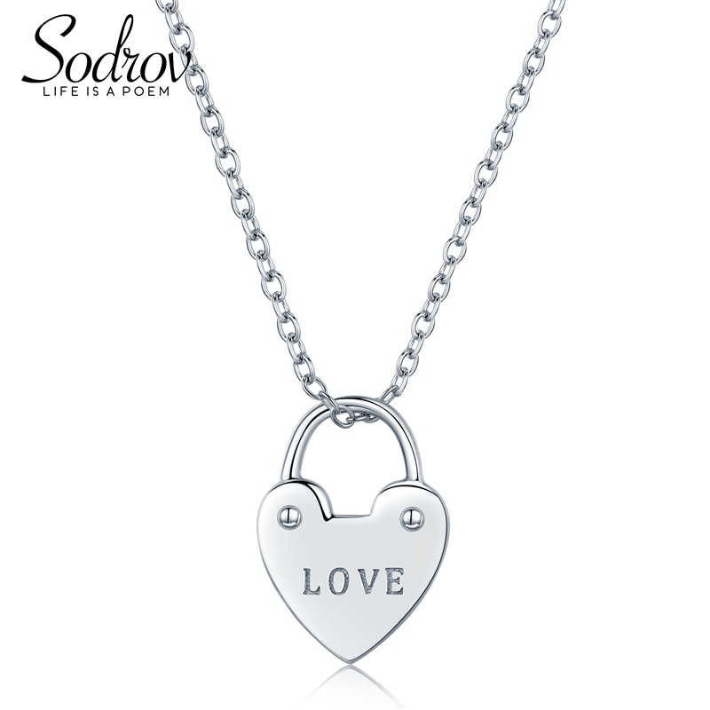 SODROV 925 Sterling Silver Heart Lock Link Chain Necklaces & Pendants Women Fine Jewelry HN019 PersonalizedSODROV 925 Sterling Silver Heart Lock Link Chain Necklaces & Pendants Women Fine Jewelry HN019 Personalized