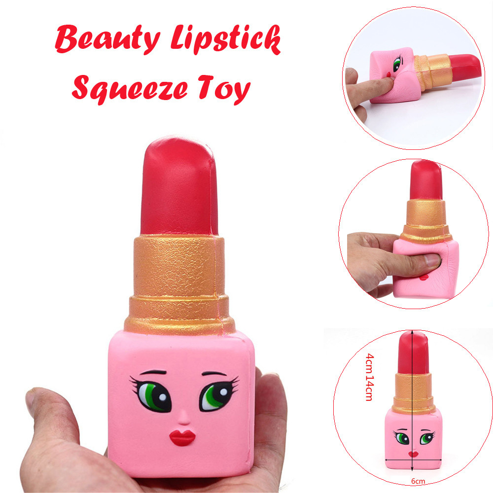 Stress Relief Toy Squeeze Toys Hot Soft Beauty Lipstick Slow Rising Squeeze Relieve Stress Toy Cute Kitten Soft Squeeze Bread Charms Scented Kids Toy Fashion