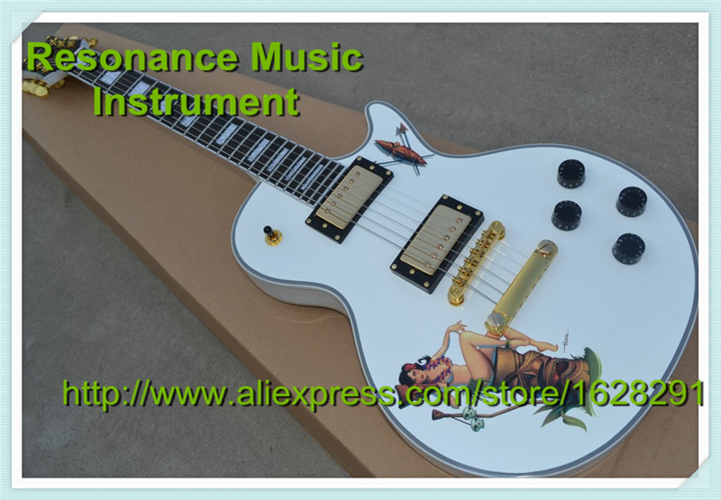 Top Selling High-quality White LP 22 Frets Custom Block Inlay Electric Guitar China Custom Available custom shop reddish brown matte satin finish 22 frets lp custom electric guitar 2014 new model china oem guitar lefty available