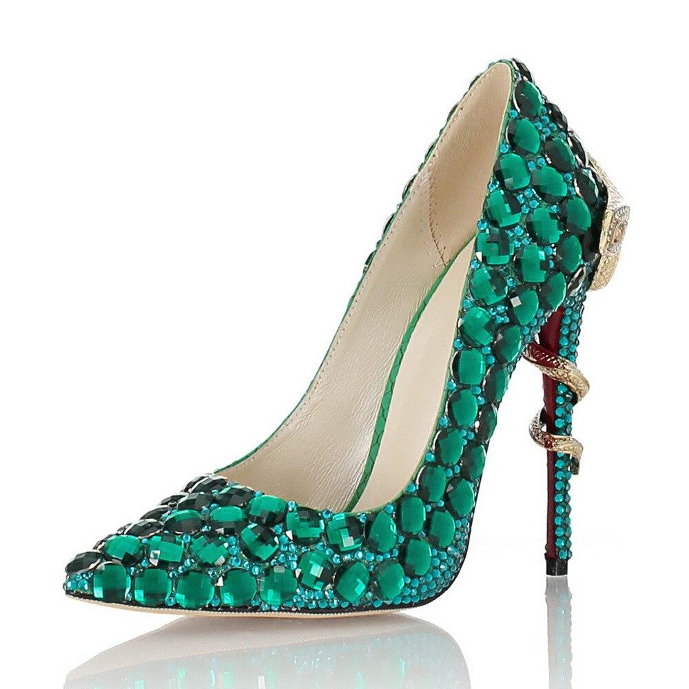 Banquet Vert Main Peu Cuir Mosaïque Pointu Haute Chaussures Véritable De Strass Simples Mariée Bouche En Profonds Talons Stiletto Femmes La tdaqwSt