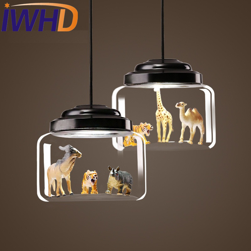 IWHD Loft Style Iron Glass Droplight Modern LED Pendant Light Fixtures Dining Room Animal Models Hanging Lamp Indoor Lighting