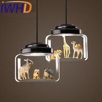 Iwhd Лофт Стиль гладить Стекло Droplight современный led подвесные светильники Обеденная Животного Модели подвесной светильник Освещение в помеще