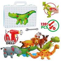 Take Apart Toy Dinosaur Kit,3D Building Puzzles with Drill Screws Tools, Remoking 8 Different Animals for Boys & Girls Aged 3+