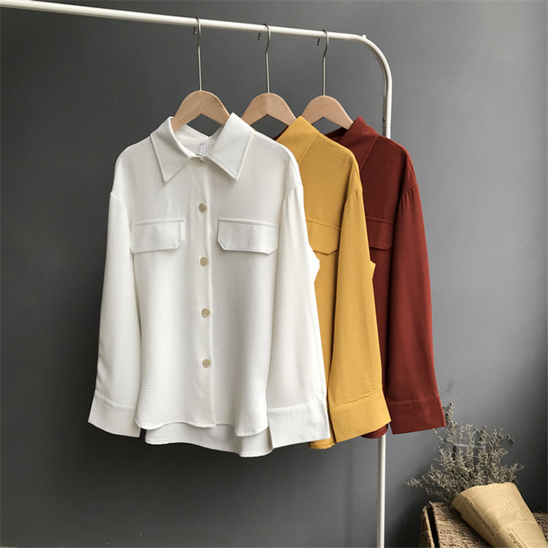 Thick Chiffon White Women Blouse Shirt 2018 Autumn Casual Woman Blouses Office Tops Chiffon Blusas  Long Sleeve Work Wear Blouse