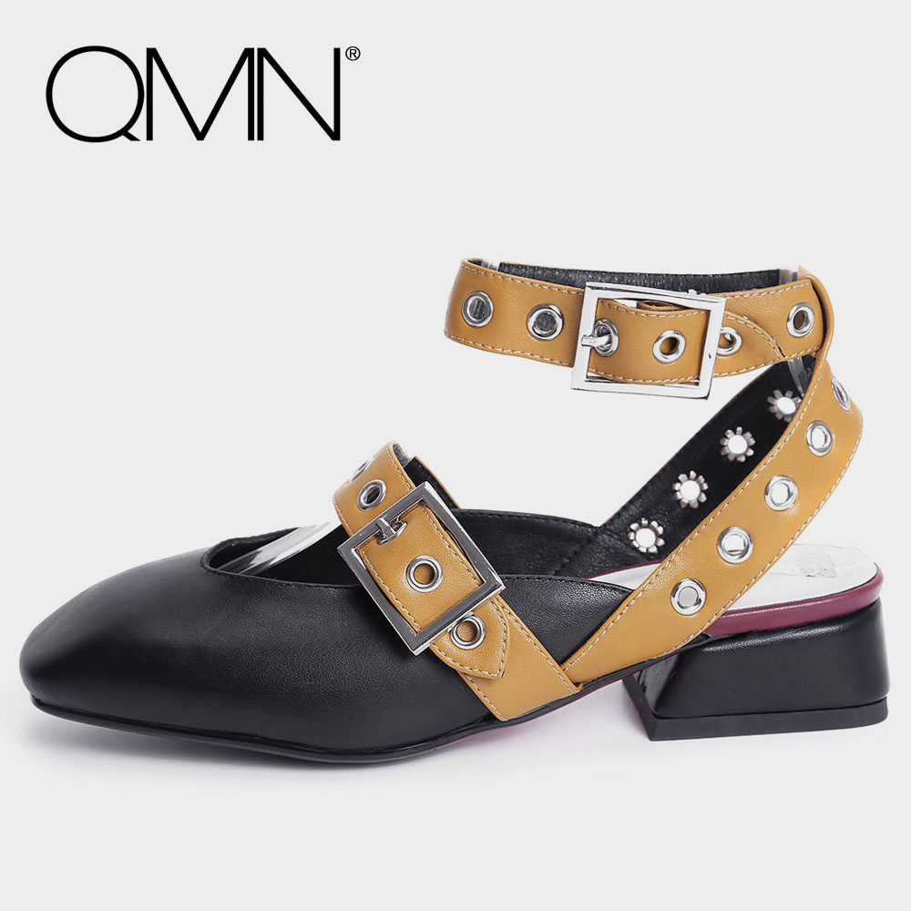 QMN genuine leather women slippers Women Square Toe Mules Ankle Strap Summer Shoes Woman Black White Leather Slides 34-40 qmn women crystal embellished natural suede brogue shoes women square toe platform oxfords shoes woman genuine leather flats