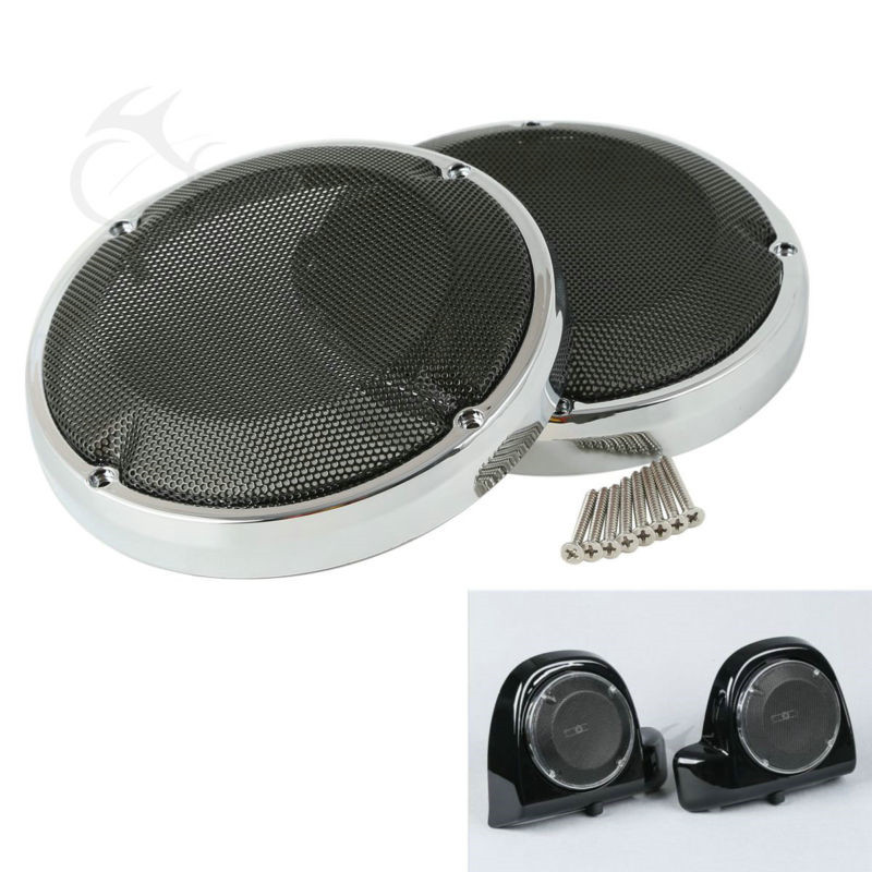 6 5 quot Saddlebag Lid Speaker Grill Cover Fit For Harley Touring 88 17 FLHT Road Glide FLTR FLHR Chrome Motorcycle