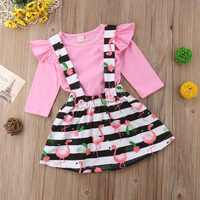 Toddler Baby Girls Long Sleeve Romper + Striped Suspender Skirt 2Pcs Clothes Set