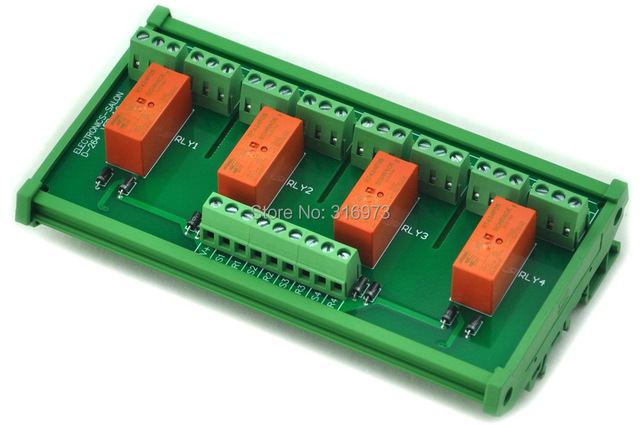 DIN Rail Mount Passive Bistable/Latching 4 DPDT 8A Power Relay Module, 5V Version